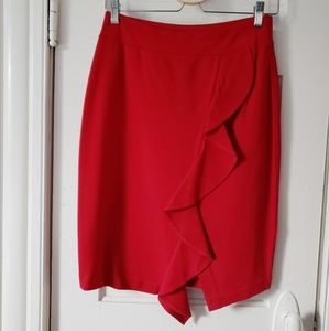 Red pencil skirt with ruffle detail